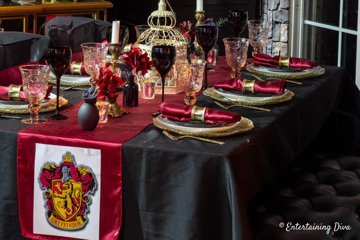 Harry Potter table setting with red and gold for Gryffindor house