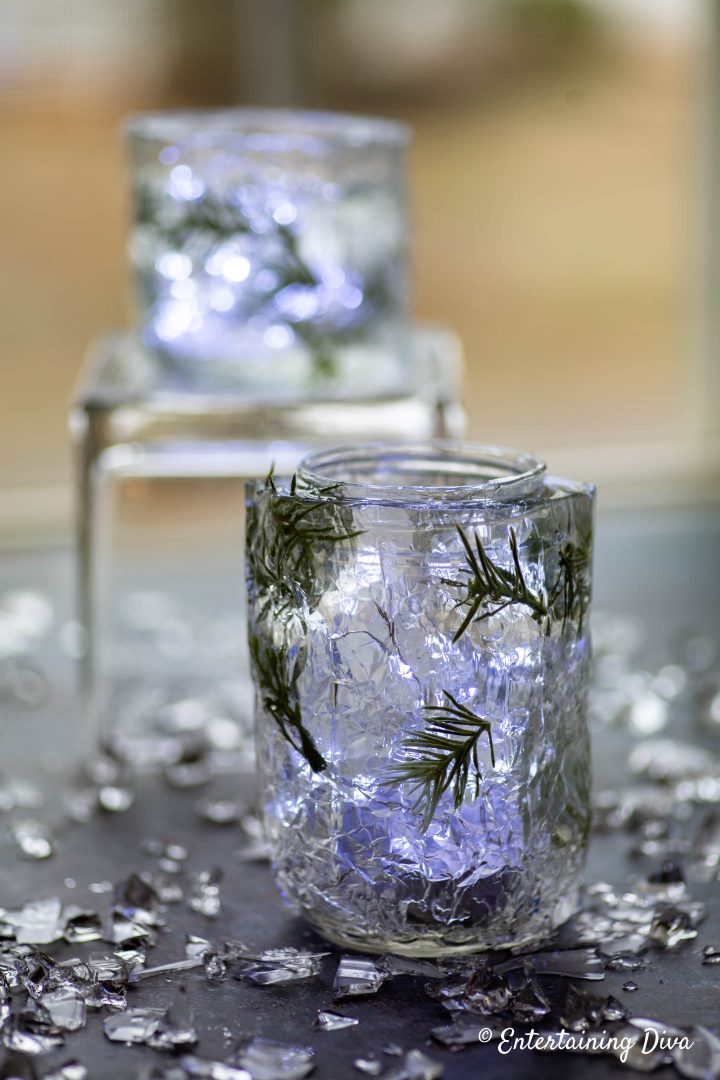 DIY faux ice candle holders with sparkle lights and faux ice table scatter