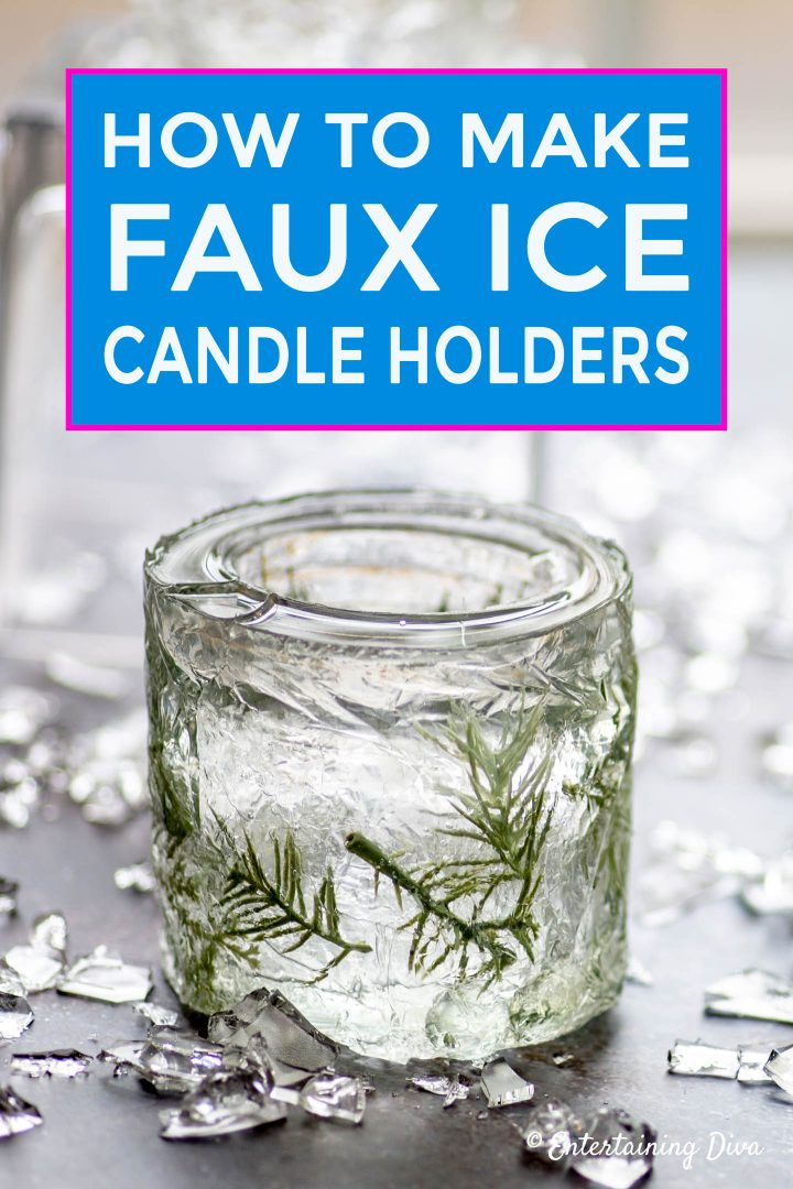 DIY Winter Wonderland decor: Faux Ice Candle Holders Made From Mason Jars