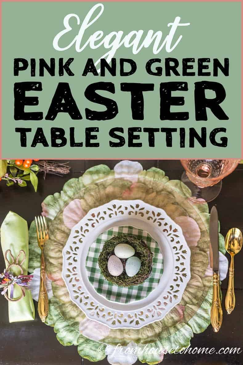 Elegant pink and green Easter table setting