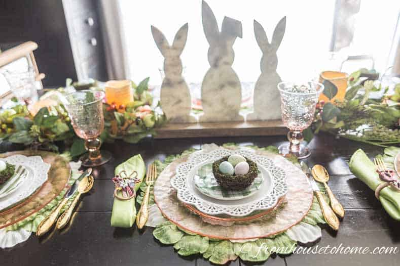 The Easter bunny centerpiece is low enough to see across the table