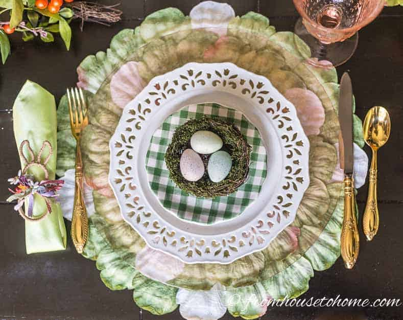 Pink, white and green Easter table place setting