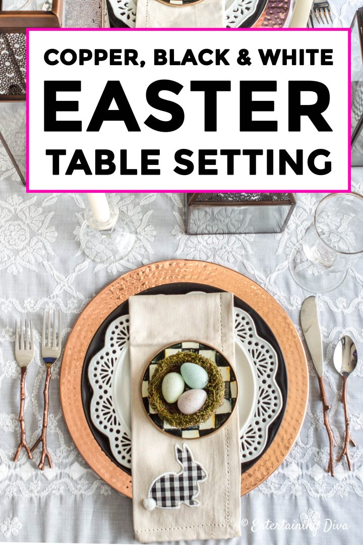 Copper, Black and White Easter Table Setting