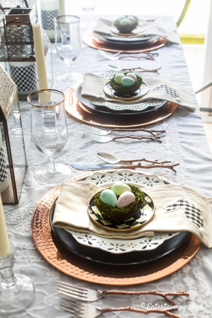 Black, white and copper Easter table place settings