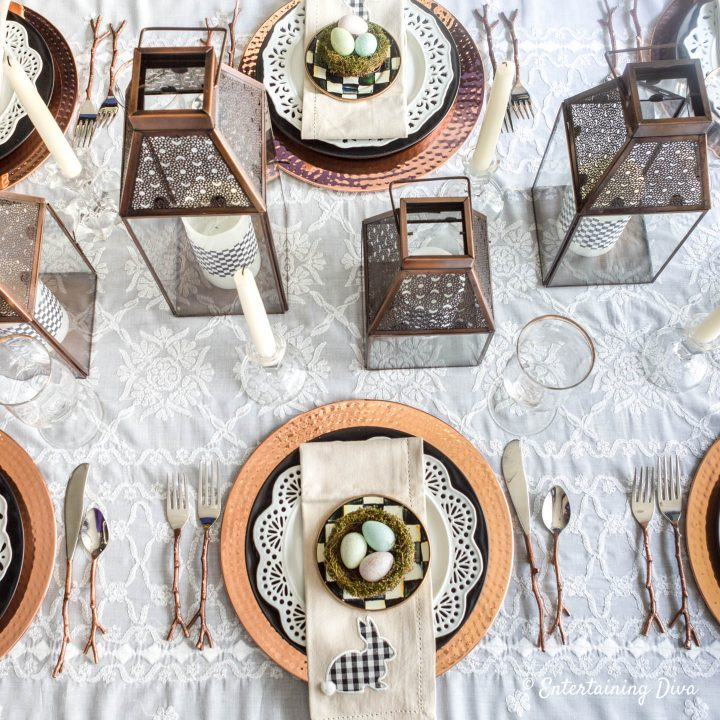 The black, white and copper Easter table place setting and centerpiece