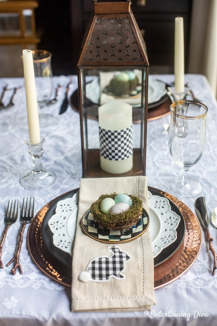 Black, white and copper Easter place setting and centerpiece