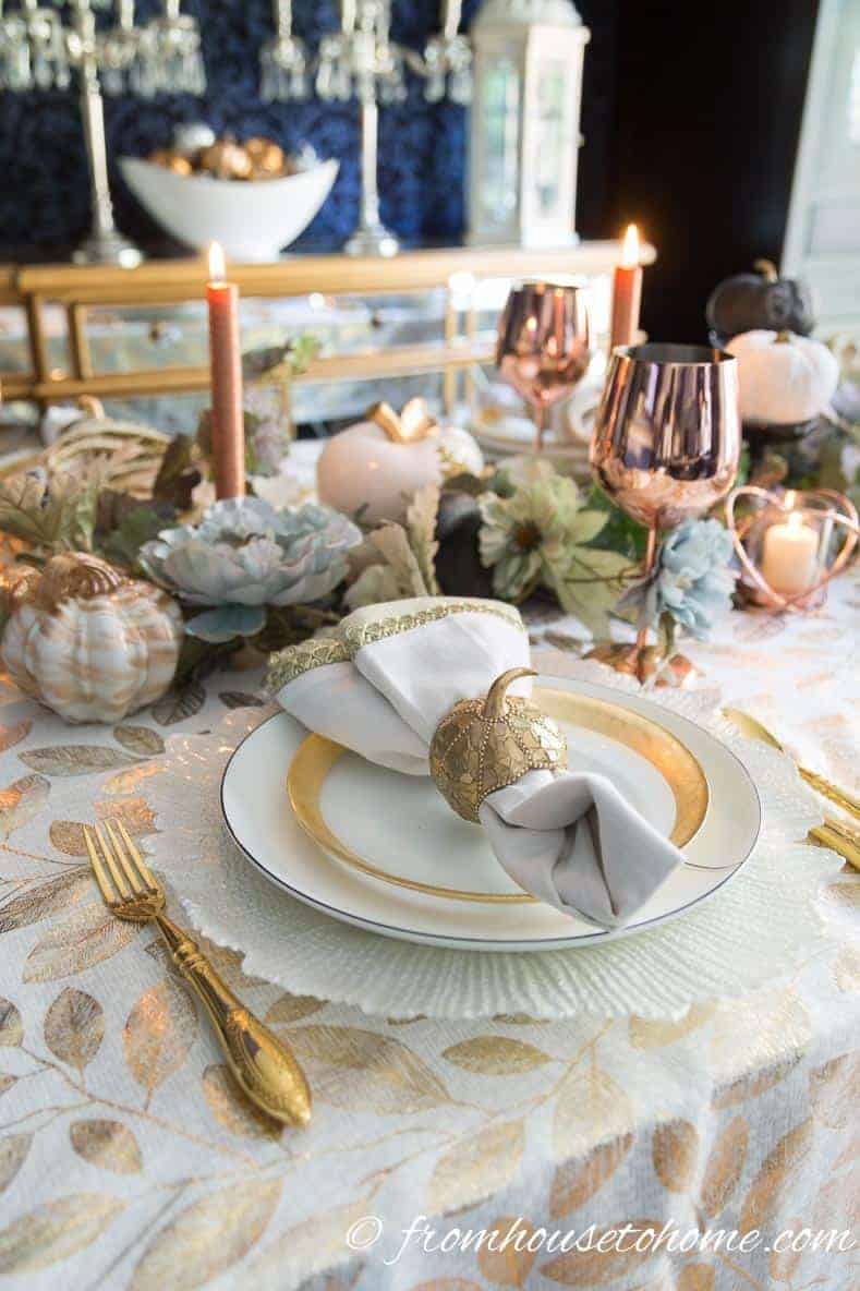 Gold and copper fall table