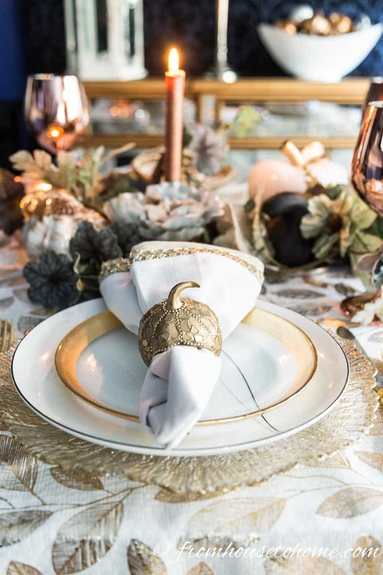 Gold and copper fall table setting