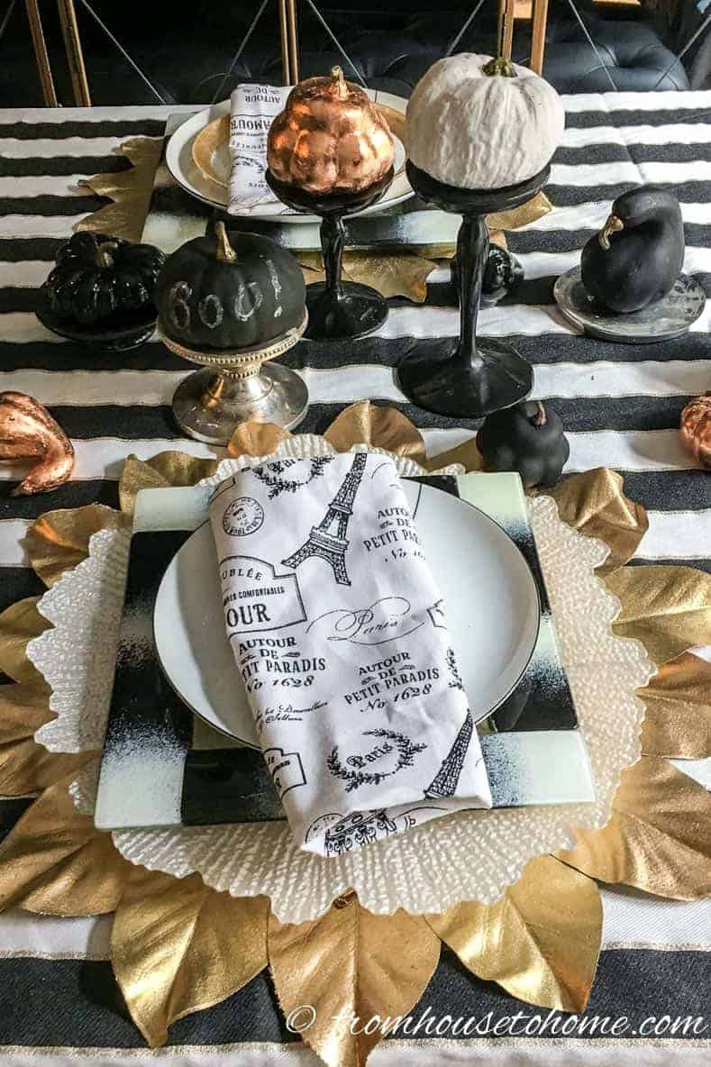 Black, white and copper fall table setting