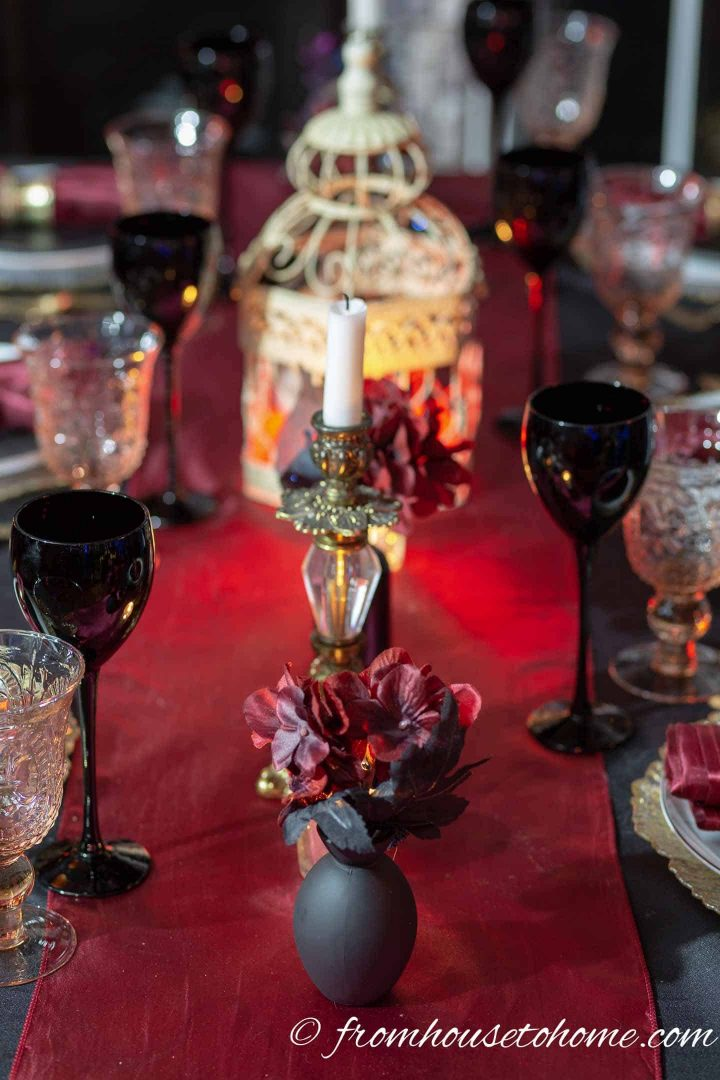 Black, red and gold Halloween centerpiece