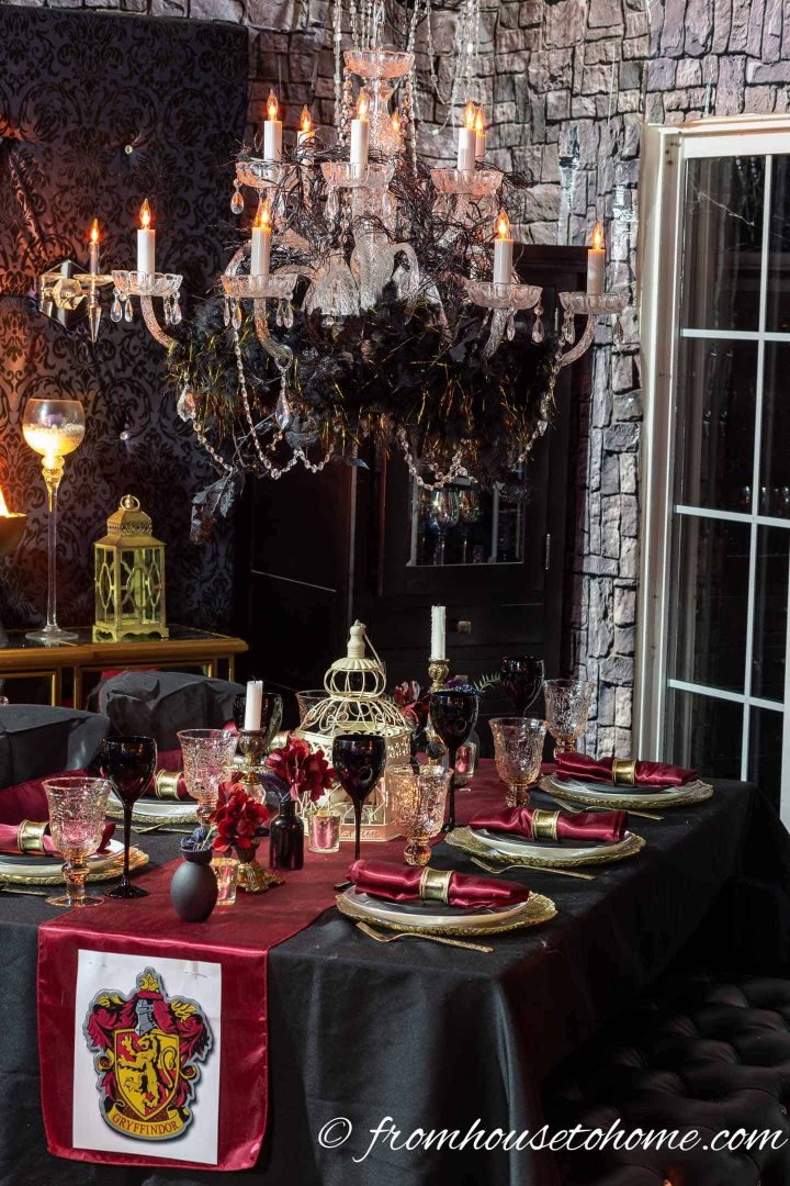 Harry Potter Halloween party Gryffindor table setting