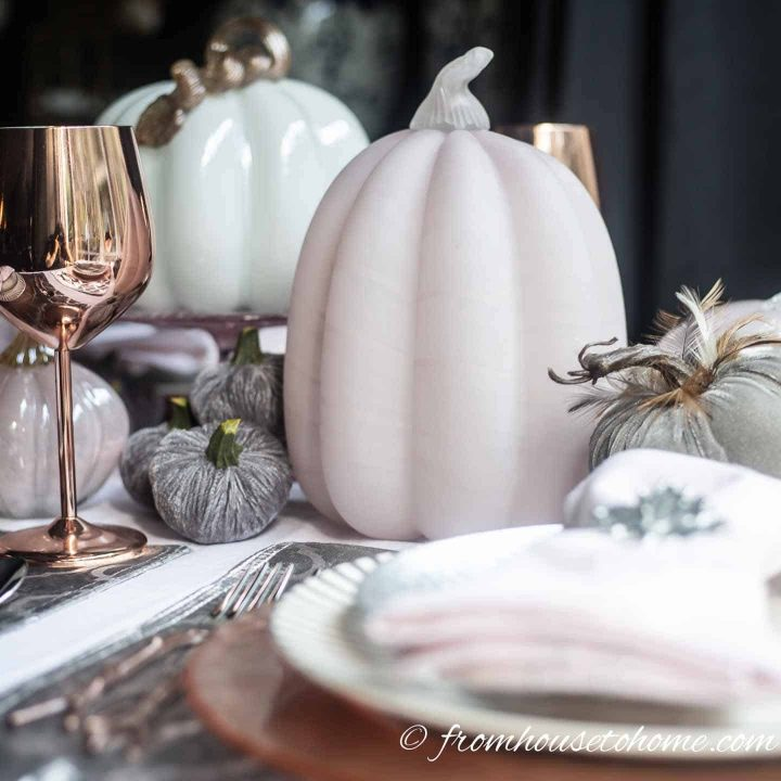 Gray velvet pumpkins with pink and white glass pumpkins