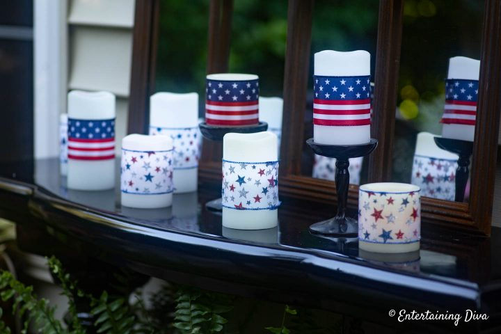 Mix and match 4th of July DIY ribbon candles with two different kinds of ribbons