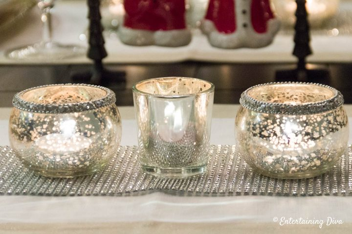 Mercury Glass Candle holders on a strip of sparkle ribbon