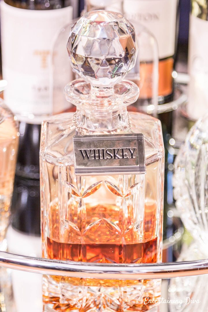 Crystal decanter with an Art Deco style whiskey label