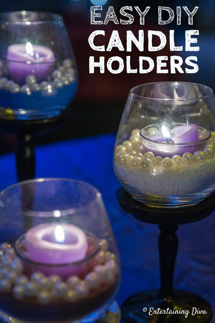 DIY sand and pearls candle holders