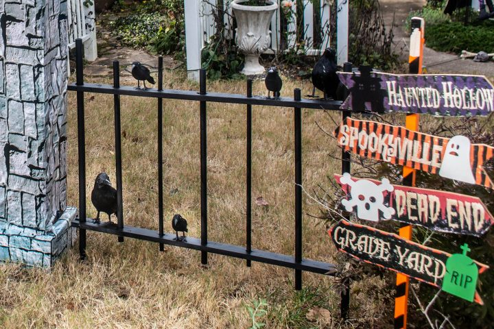 The completed DIY Halloween cemetery picket fence