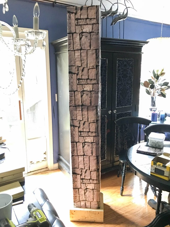 The completed DIY Halloween cemetery column