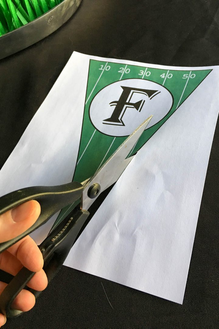 Cutting out the DIY printable football banner