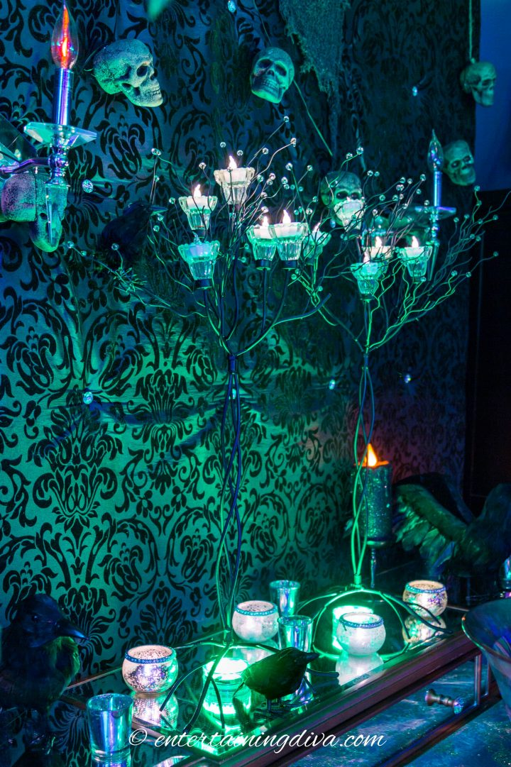 Maleficent party decor faux trees with candles
