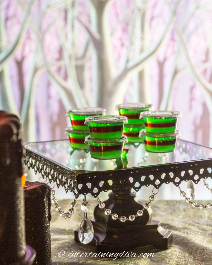 Maleficent party green and purple layered jello shots