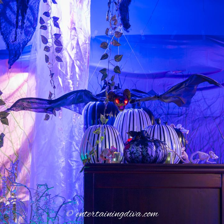Halloween party decor bat hanging from the ceiling