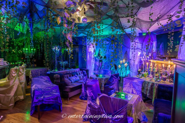 Maleficent party decor in a living room