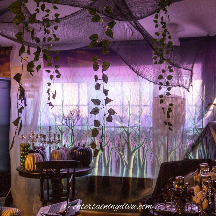 Spooky forest scene setter adds to the Maleficent party forest decor