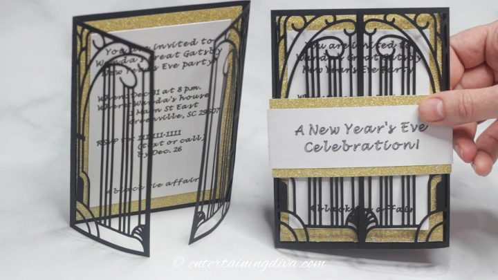 The DIY laser cut Gatsby party invitations with and without the wrapper