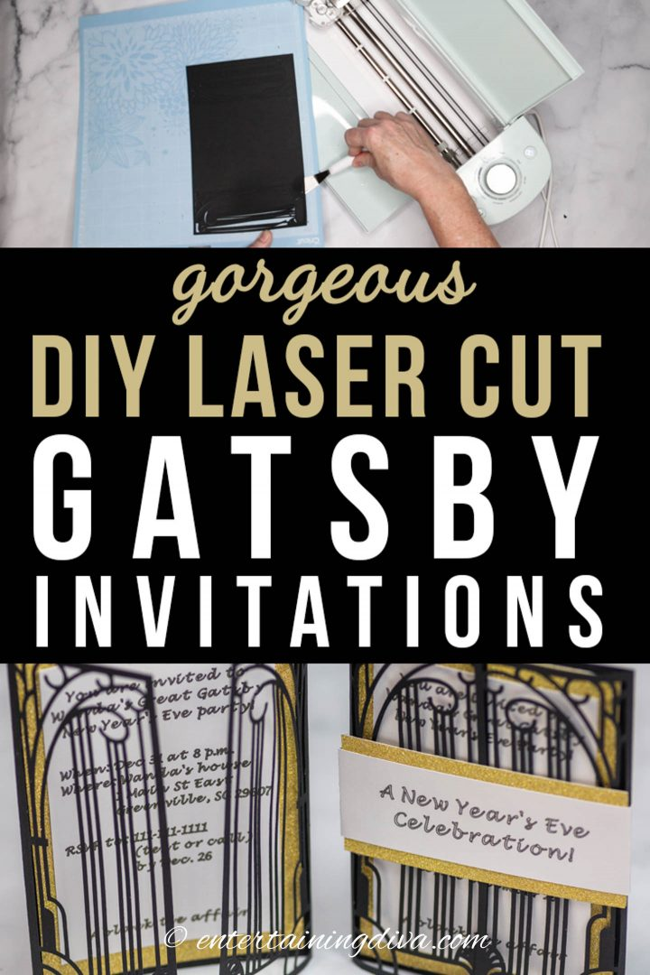 Gorgeous DIY laser cut Gatsby party invitations