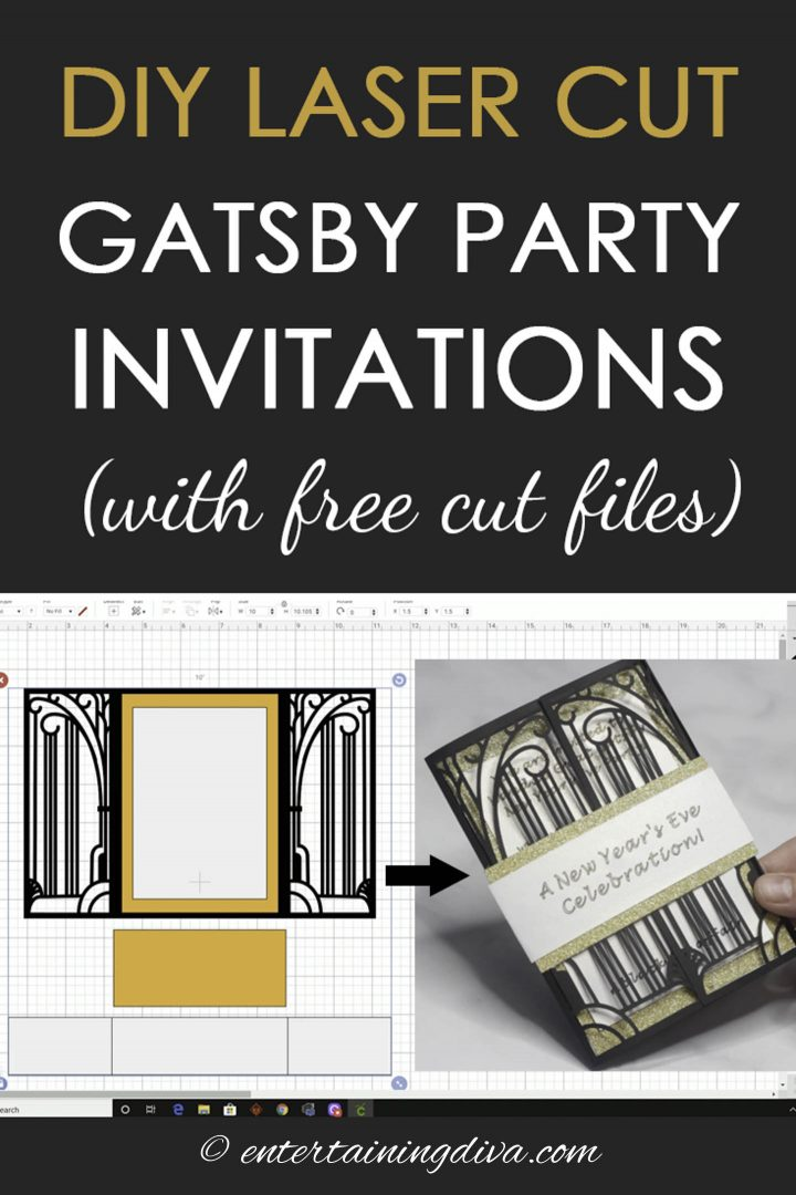 DIY laser cut Gatsby party invitations with free cut files
