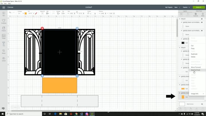 Bringing the yellow rectangle layer to the front in Cricut Design Space