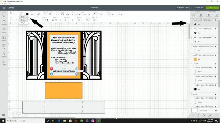 Changing invitation text to a Draw line type in Cricut Design Space