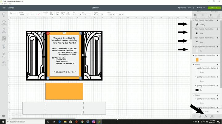 Attaching the text to the invitation layer in Cricut Design Space