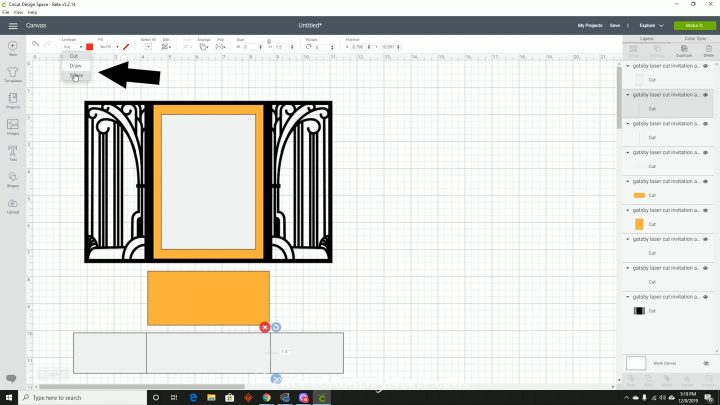 Changing the line type to Score in Cricut Design Space