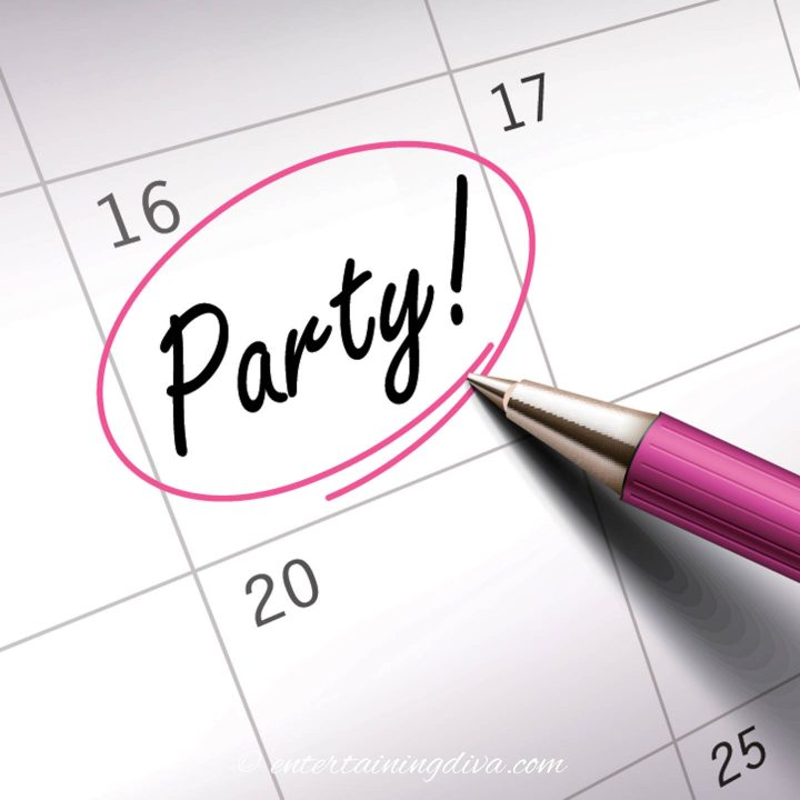 Party date circled on calendar