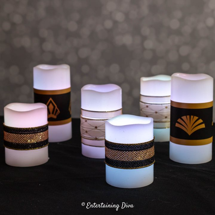 DIY Great Gatsby candles with different designs