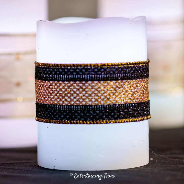 White, black and gold Great Gatsby candle