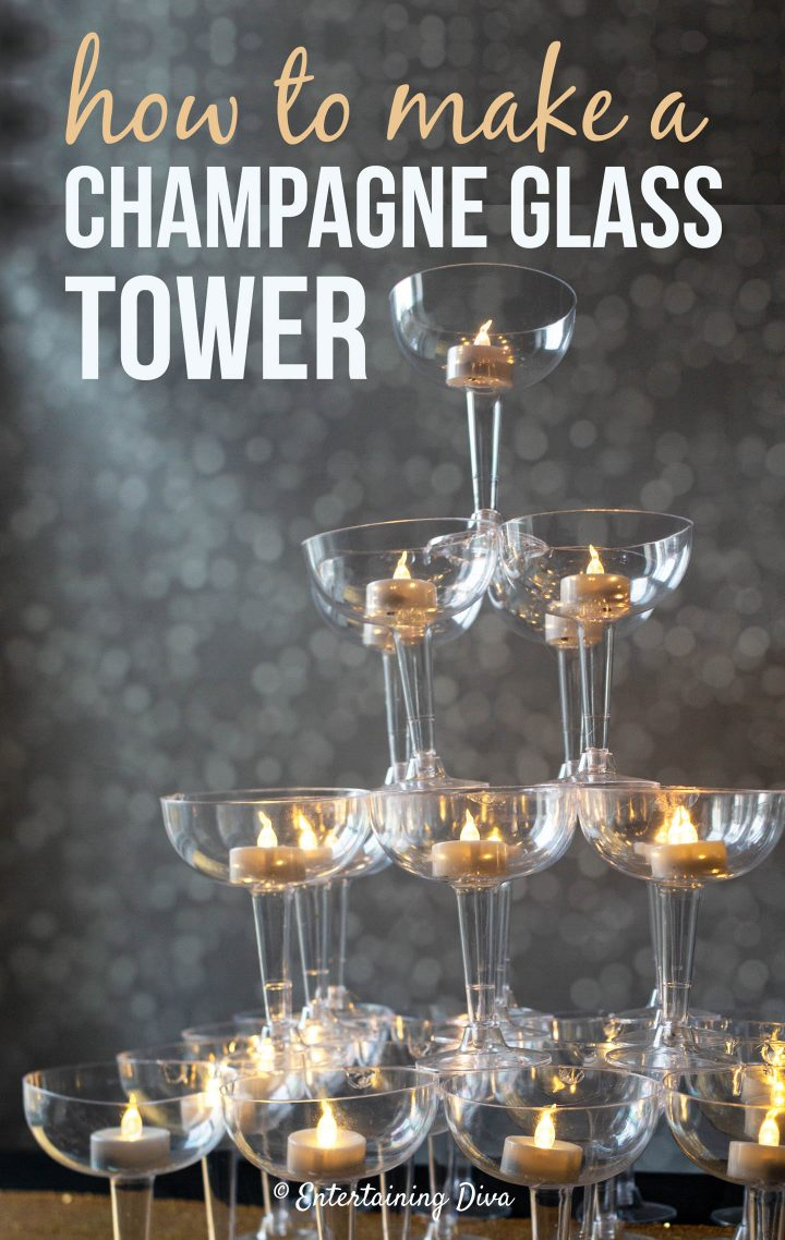 DIY champagne glass tower
