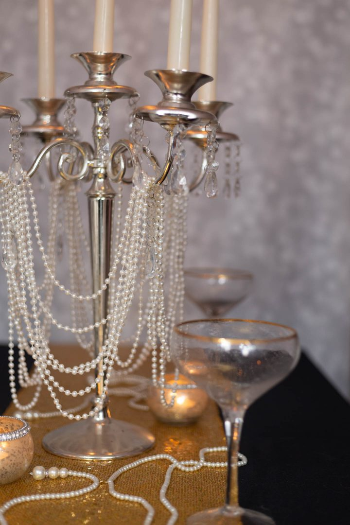 Great Gatsby centerpiece - Silver candelabra with strings of pearls