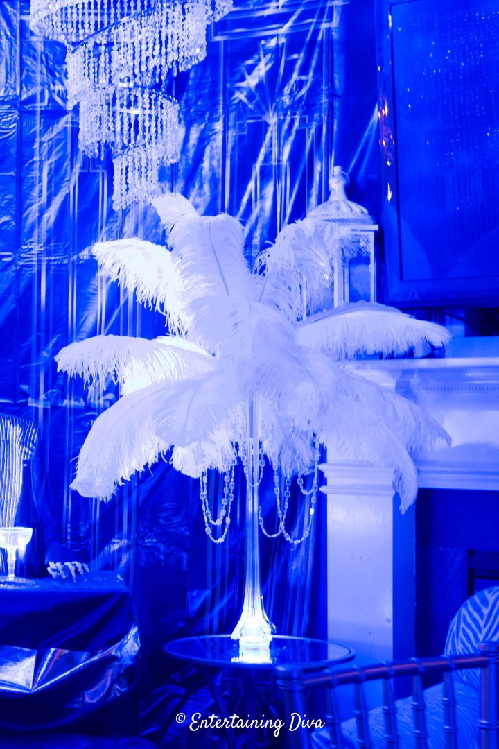 Eiffel tower ostrich feather centerpiece with crystal beads