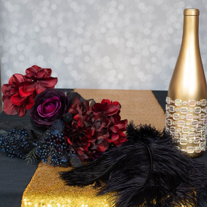 Materials to make the faux flower and ostrich feather centerpiece