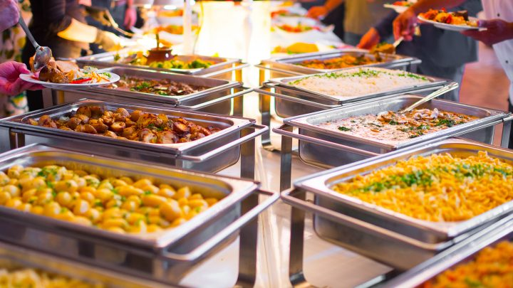 Chafing dishes on a buffet