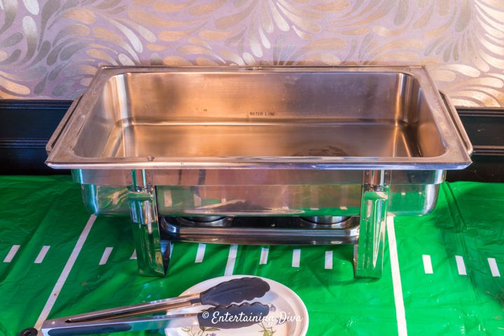 Chafing dish filled with water on the buffet
