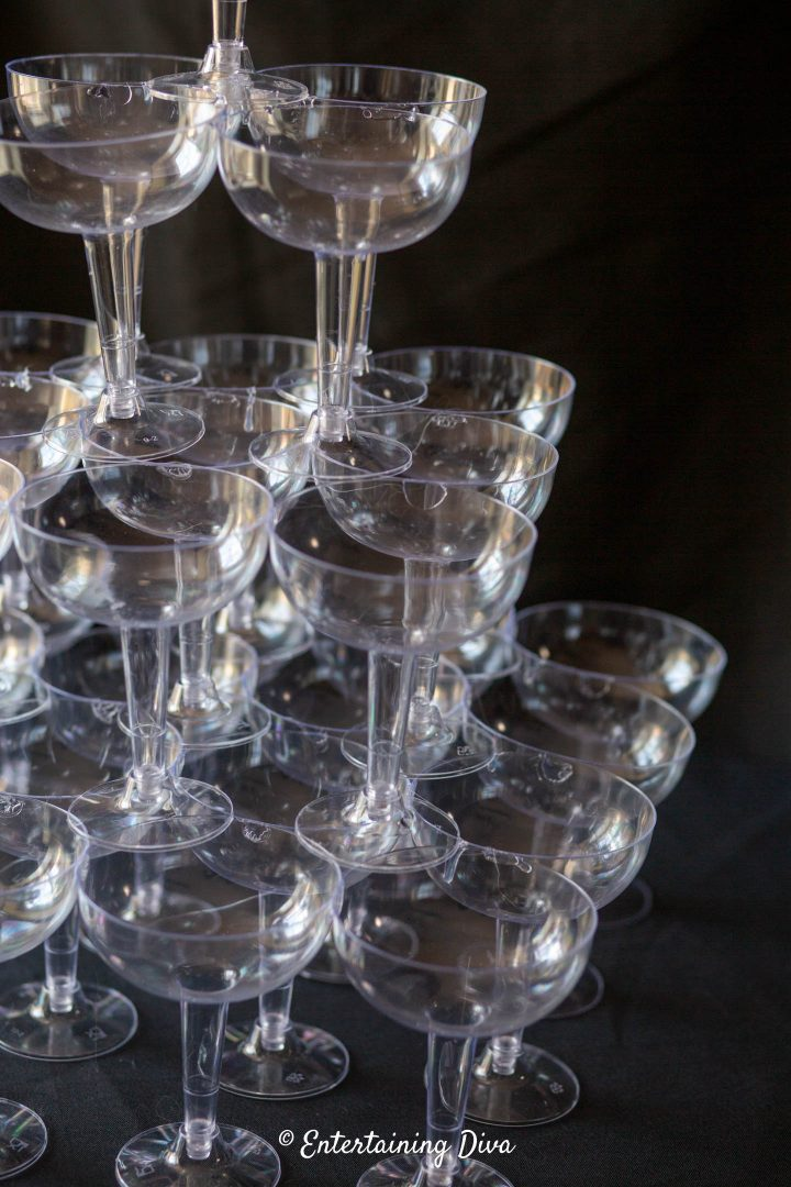 Champagne glasses stacked on top of each other