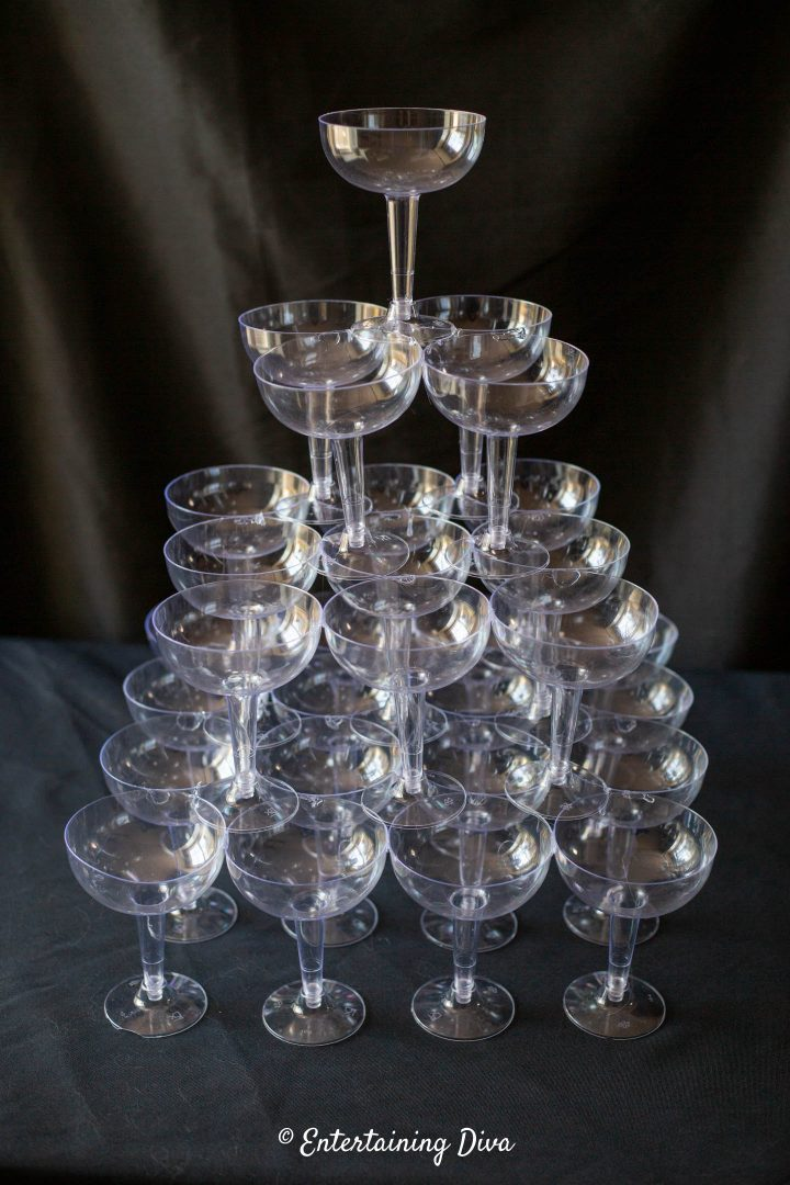 The finished DIY champagne glass tower