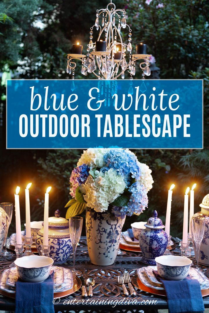 Blue and white outdoor dinner party table setting