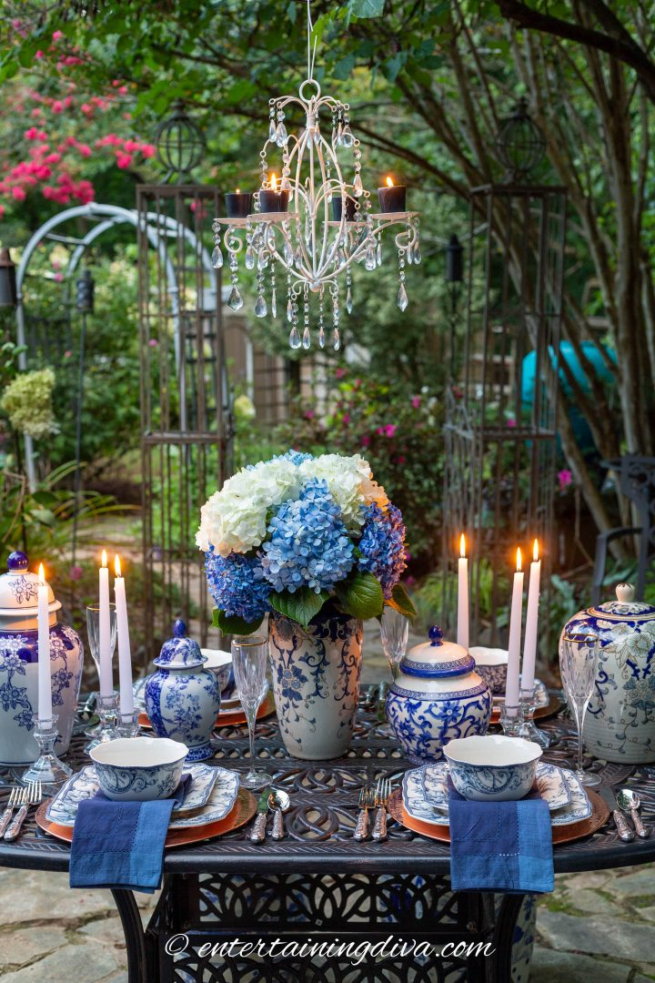 Blue and white garden party table decor