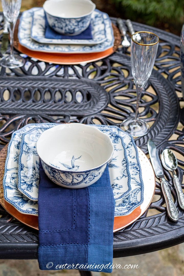 Blue and white outdoor place setting
