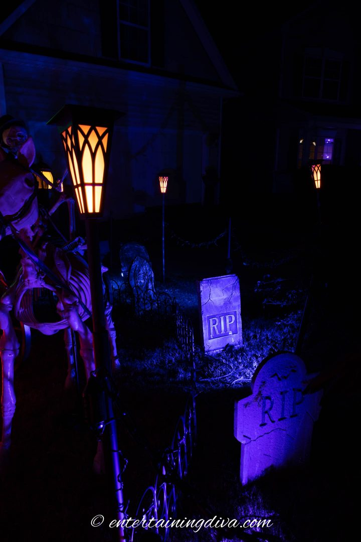 Solar torches used to light a Halloween yard haunt